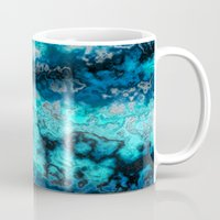 agate Mugs featuring Blue Agate by DeepFlux