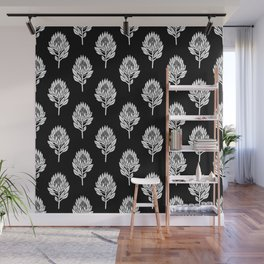 Linocut Protea flower printmaking pattern black and white floral Wall Mural