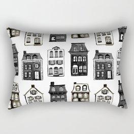 Mansard Mansions in Black + White Watercolor Rectangular Pillow