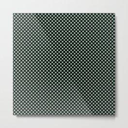 Black and Grayed Jade Polka Dots Metal Print