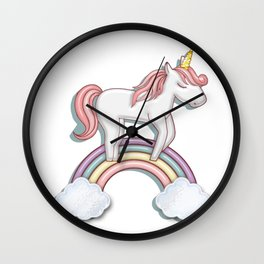 Unicorn  with Pastel Colored Rainbow and Puffy Clouds Wall Clock