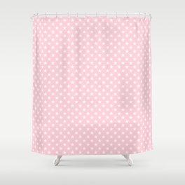 White Stars on Soft Pastel Pink Shower Curtain
