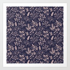 Navy Blue Floral Pattern Art Print