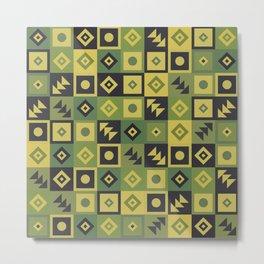 Retro Geometric Floor Tile Pattern Metal Print
