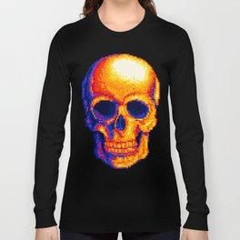 Neon Skull Pixel Art Long Sleeve T-shirt