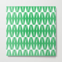 Mid Century Modern Diamond Pattern Green 234 Metal Print