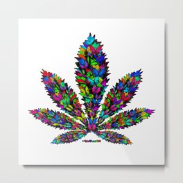 Butterflies Cannabis Leaf Metal Print