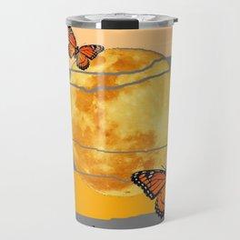 MOON & MONARCH BUTTERFLIES DESERT SKY ABSTRACT ART Travel Mug