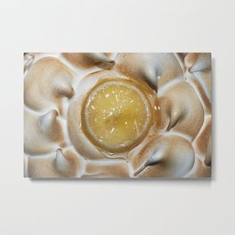 Close up of a lemon pie with meringue and a lemon slice on top. Metal Print