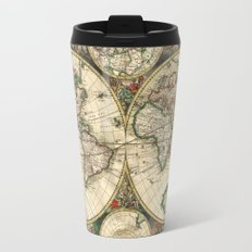 Old map of world hemispheres. Created by Frederick De Wit, 1668 Travel Mug