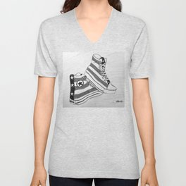 black and white rock and roll Unisex V-Neck