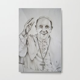Pope Francis Drawing Metal Print