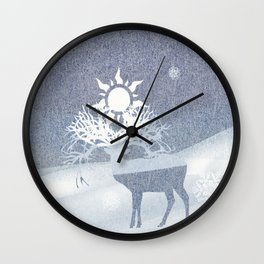a deer with nine horns is bringing back the sun~ illustration  Wall Clock