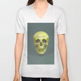 Yellow pop candy skull 3D render. Unisex V-Neck