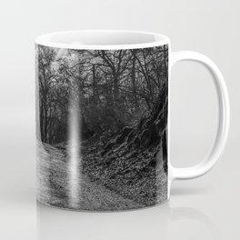 Reaching the trees, black and white Coffee Mug