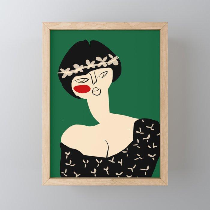 Girl with flower crown Framed Mini Art Print