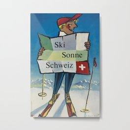 Ski Sonne Schweiz Vintage Travel Poster Metal Print