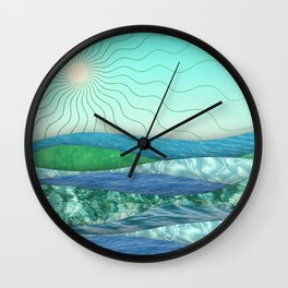 Abstract landscape with waves and sun Wall Clock