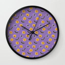 Halloween colorful pattern on blue background Wall Clock