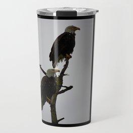 bald eagle pair in the rain (square) Travel Mug