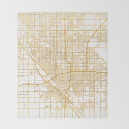 FRESNO CALIFORNIA CITY STREET MAP ART Throw Blanket