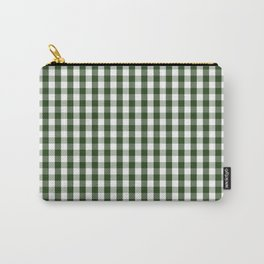 Dark Forest Green and White Gingham Check Carry-All Pouch