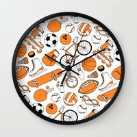 sports Wall Clocks featuring SPORTS by Shoreside