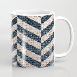Blue Tan Textured Pattern Design Coffee Mug