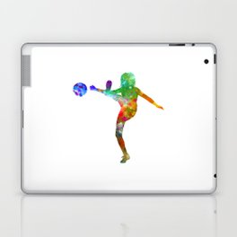 Woman soccer player 17 in watercolor Laptop & iPad Skin