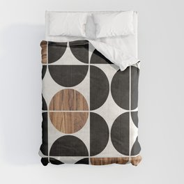 Mid-Century Modern Pattern No.1 - Concrete and Wood Comforters