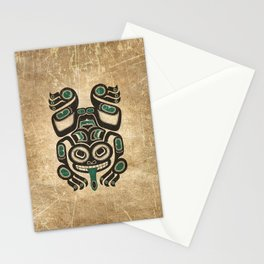 Teal Blue and Black Haida Spirit Tree Frog Stationery Cards