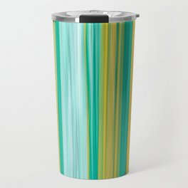 turquoise green yellow abstract striped pattern Travel Mug