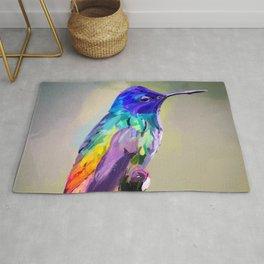 Hummingbird Colorful Abstract Bird Art Rug