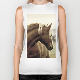 brown horse on the hill Biker Tank