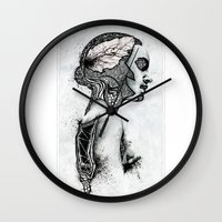black swan Wall Clocks featuring Swan by JsR_OtR