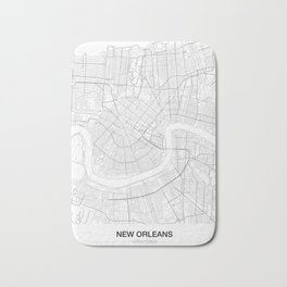 New Orleans, United States Minimalist Map Bath Mat