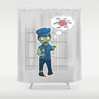 police Shower Curtains featuring Zombie Police by Jelo