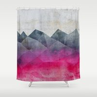 concrete Shower Curtains featuring Pink Concrete by cafelab