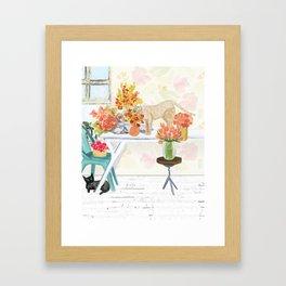 The Florist's Cats Framed Art Print