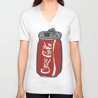 coke V-neck T-shirts featuring COKE 4EVR by Josh LaFayette