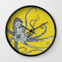 octopus Wall Clocks featuring Octopus by Rachel Russell