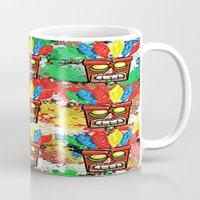 tiki Mugs featuring tiki mask by grapeloverarts