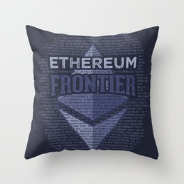 Ethereum Frontier Grunge original on dark blue Throw Pillow