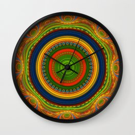 Groovy colourful fractal mandala with lace-like patterns Wall Clock