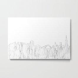 Coventry, UK Skyline B&W - Thin line Metal Print