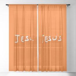 Jesus 4 orange Sheer Curtain