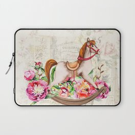 Vintage Collage and Rocking Horse Laptop Sleeve