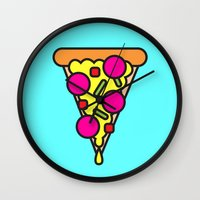 boyfriend Wall Clocks featuring pizza is my boyfriend by molly ennis