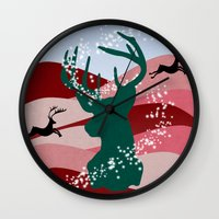 merry christmas Wall Clocks featuring merry christmas by mark ashkenazi