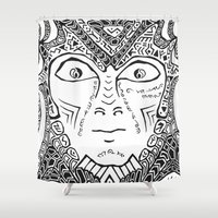 warrior Shower Curtains featuring Warrior by Ommou